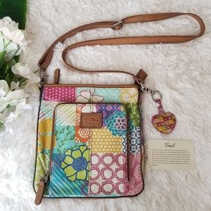 Fossil Leather Floral Crossbody Bag